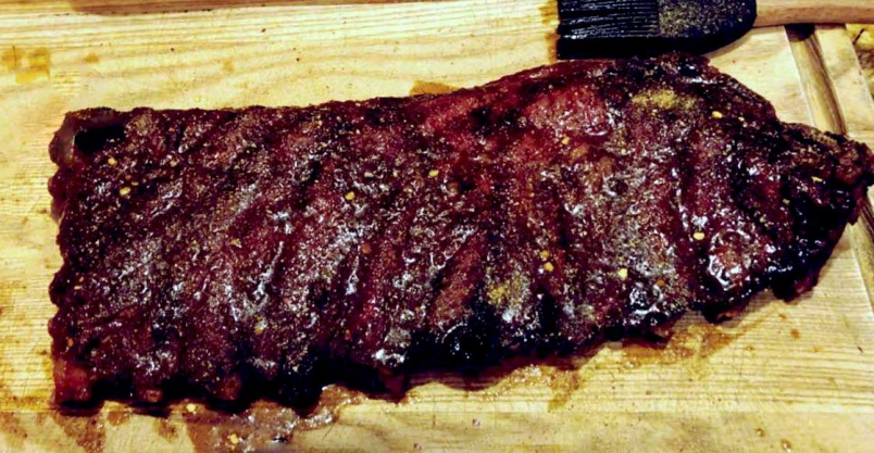 Smoked ribs basted in delicious BBQ sauce